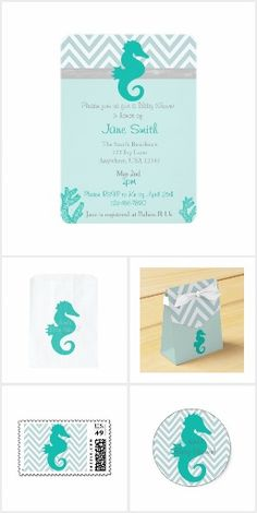 Teal Seahorse Baby shower collection