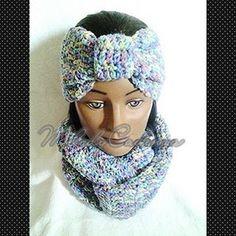 Women's Monet Fusion Infinity Scarf Set w/Headband www.melodycadenzaclothing.com #Crochet #Handmade #Beanie