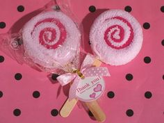 """Sweet Treats Collection Pink Lollipop towel favor Our lollipop towel favors are the sweetest treat you can give your guests. From Cassiani collections exclusive """" Sweet treats collection"""" these adorable lollipop towel favors are the perfect gifts for your next event. Each round cotton pink towel is made to resemble a pink lollipop with a swirl center and is attached to a stick and wrapped in clear cellophane and finished with a pink satin ribbon #timelesstreasure"""
