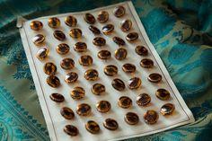 1950's Brown_golden edge round czech glass buttons by RubanRuban