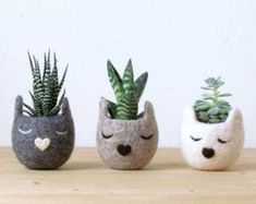 Cat head planter / Small succulent pot / Personalized planter / Felt succulent planter / cat lover gift / Unique gift - Set of three USD) by theYarnKitchen Felt Succulents, Small Succulents, Succulent Pots, Gifts For Pet Lovers, Cat Gifts, Cat Lovers, Puppy Gifts, Head Planters, Planter Pots
