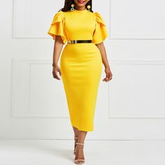2b501c85fdd3 Kinikiss 2018 women office dress ladies yellow dress working girl ruffle  zipper plus size evening summer bodycon midi dress