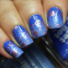 piCture pOlish Bluebird ja Forget Me Not gradient with stamping