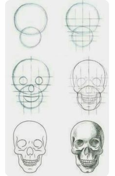 Image result for skull drawing step by step