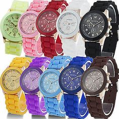 HOT!! Geneva Silicone Quartz Men/Boy/Lady/Women/Girl Jelly Wrist Watch Popular $3.99