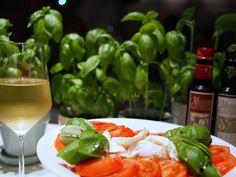 Buffalo mozzarella and tomatoes with home-grown basil