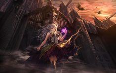 women, castles, dragons, dress, red eyes, white hair, long ears.jpg (1238×779)