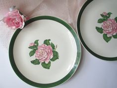 Vintage Cronin Pink Green Floral Dinner Plate Pair by jenscloset
