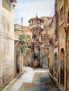 watercolor painture view . old city Aleppo Syria