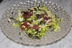 Bigeye tuna with ceviche vinaigrette and basil (no hot spices)