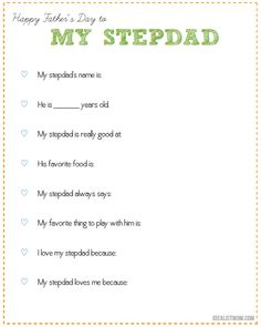 Looking for a special way to celebrate Father's Day for a stepfather? Click for a free printable your kid can give as a gift to their stepdad.