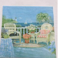 Rare single(one)napkin Art by Charles Keller Cat/Sea for decoupage,decoupage under glass, mixed media, scrapbooking and other art and crafts door Dalilasdecoupage op Etsy