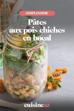 Les pâtes aux pois chiches en bocal sont un plat parfait pour la pause déjeuner au travail.  #recette#cuisine#pates#poischiches #legumesec #lunchbox