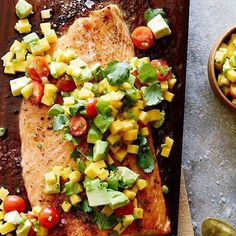 www.sizzlefish.com  We are dreaming about this Cedar Plank Salmon with Mango Avocado Salsa for dinner! 📷 via @whatsgabycookin _ Head to our website: www.sizzlefish.com to order your perfectly portioned fish and shellfish today! Don't forget! Free shipping on all order