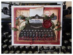 iGirlZoe - Tim Holtz Vintage Typewriter Christmas Card using Tim Holtz, Ranger, Sizzix and Stamper's Anonymous products; Create Christmas Cards, Christmas Tag, Xmas Cards, Christmas Projects, Diy Cards, Holiday Cards, Holiday Ideas, Vintage Christmas, Tim Holtz