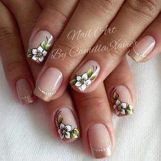 Flower Nail Designs, Flower Nail Art, Nail Art Designs, Gorgeous Nails, Pretty Nails, Nail Decorations, Stylish Nails, Cool Nail Art, Toe Nails