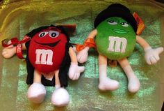 "M&M Red & Green Chocolate Candy Plush~ Halloween~Vampire + Witch 9""  Stuffed Toy #MM"