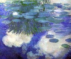 Water Lilies, 1917 -- Claude Monet , oil on canvas -- Musée Marmottan-Monet, Paris Edgar Degas, Monet Paintings, Landscape Paintings, Artist Monet, Monet Water Lilies, Pierre Auguste Renoir, Oil Painting Reproductions, Impressionist Paintings, Artists