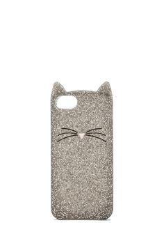 kate spade new york Glitter Cat iPhone 5 Case in Silver Glitter