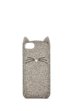 kate spade new york Glitter Cat iPhone 5 Case in Silver Glitter