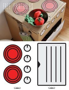 pl: DIY, make a play kitchen from cardboard boxes, free stickers, free printables Cardboard Kitchen, Cardboard Crafts, Diy Play Kitchen, Toy Kitchen, Kids Kitchen Accessories, Diy Toys And Games, Diy For Kids, Crafts For Kids, Licht Box