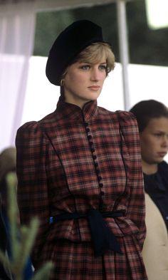 Princess D 1981, a striking tartan outfit & beret.