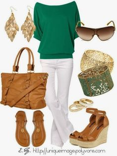 Green cardi, white pants, jewelry and other accessories for fall. Or think spring with my new emerald tee, different accessories. Like the gold jewelry.