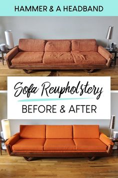 If you have a vintage mid-century modern sofa, it's probably about time for a reupholstery job. By now the couch fabric has faded, stretched and pilled, and the foam cushions are crumbling to pieces, Ikea Couch, Diy Couch, Couch Cushions, Foam Cushions, Couch Redo, Recover Couch, Reupholster Couch, Upholstered Sofa, Mid Century Couch