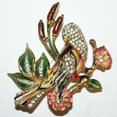Coro Craft Sterling Enamel Rhinestone Bird Pin Brooch 1940's, Luminous Bijoux Exclusively on Ruby Lane