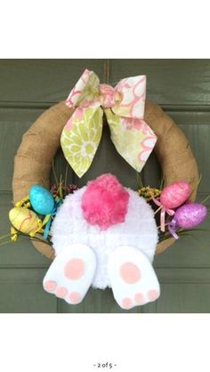 47 Super Ideas For Easter Door Decorations Bunny Diy Spring Door Wreaths, Holiday Wreaths, Holiday Crafts, Easter Wreaths Diy, Easter Projects, Easter Crafts, Easter Decor, Kids Crafts, Easter Bunny
