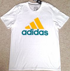 New$25 Mens(Lrg) ADIDAS 3-BAR T-SHIRT White&Green/Yellow Go-To Tee Classic NWT #adidas #GraphicTee