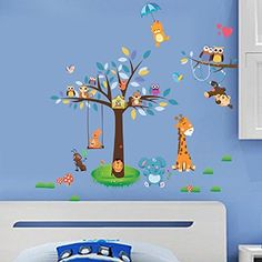 Amaonm Creaitve Jungle Wildlife Forest Animals Paradise Cartoon Monkey Owls Giraffe Elephant  Giant Bown Tree Wall Decal Wall Stickers Murals for Nursery Room Classroom Kids Bedroom Living room ** Visit the image link more details.