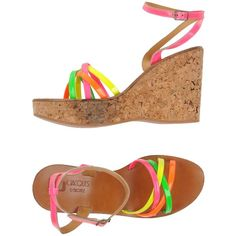 K. Jacques St. Tropez Sandals (€155) ❤ liked on Polyvore featuring shoes, sandals, fuchsia, neon sandals, buckle sandals, ankle strap sandals, ankle wrap wedge sandals and wedge sandals