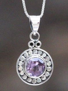 This amethyst pendant was made in a small home-based workshop in the historic old city of Jaipur, India.- Made with sterling silver and a faceted amethys Amethyst Pendant, Chakra, Pendant Necklace, Gemstones, Sterling Silver, Jewelry, Jewlery, Gems, Jewerly
