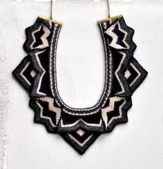 Papilio - Knitted Statement Necklace, Sculptural Chevron knit - Ready to ship for Christmas!