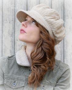 Khaki wide wale corduroy newsboy hat by Jaya Lee Designs