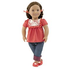 Our Generation Alejandra Doll with Crochet Shirt, Cuffed Blue Jeans, Red Shoes and Hair Ribbons Og Dolls, Girl Dolls, Doll Clothes Patterns, Clothing Patterns, Doll Patterns, Swing And Slide, Journey Girls, Our Generation Dolls, Hair Ribbons