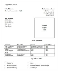 download actor or actress resume free actor resume template and how to write yours properly