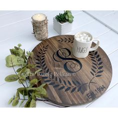 Solid Wood Wine Barrel, Personalized Gifts, Lazy Susan, HAND PAINTED,... ($114) ❤ liked on Polyvore featuring home, kitchen & dining, monogrammed lazy susan, wooden lazy susan, wood lazy susan, wine barrel lazy susan and wooden turntable