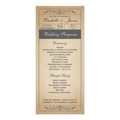 Vintage Wedding Ticket Program