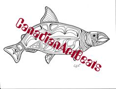 Coloring Page Downloadable Salmon Fish Printable Art by CanadianArtBeats on Etsy