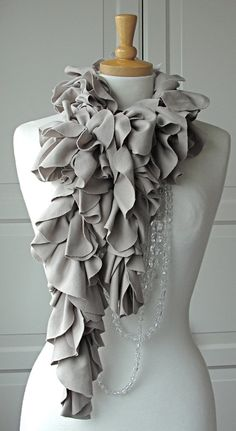 SALE - Grey Stone PETAL Ruffle Scarf by FAIRYTALE13 - Handmade in the Uk