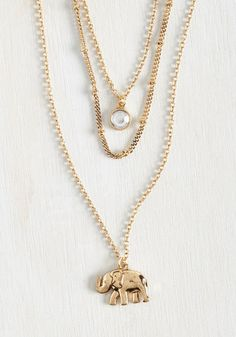 Elephant Elegance Necklace - Gold, Casual, Critters, Exclusives, SF Fit Shop