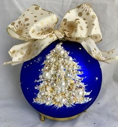 Natalie Sarabella, known as the Rock Star of Christmas ornaments, Home Decor and more. Blue Christmas Decor, Jewelry Christmas Tree, Christmas Tree Painting, Painted Christmas Ornaments, Christmas Art, Christmas Tree Decorations, Christmas Tree Ornaments, Christmas Holidays, Modern Christmas