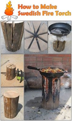 The Swedish Fire Torch, also known as a Canadian Candle, is a great way to set up a fire as it uses only one log, has a flat cooking surface and is self feeding, meaning it can burn for several hours without any attention. To make a Swedish Fire Torch, find a single log, the…: