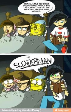 Timmy Turner, Jimmy Neutron, Spongebob SquarePants , Danny phantom and Slenderman (I don't know who that is) but I used to love each of theses boys' shows when I was younger Mundo Dos Games, Odd Parents, Cartoon Crossovers, Fanart, Ben Drowned, Old Cartoons, Nickelodeon Cartoons, Nocturne, Funny Comics
