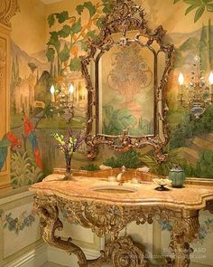 Old World Style Powder Room Powder Room Decor, Powder Room Design, Powder Rooms, Dream Bathrooms, Beautiful Bathrooms, Romantic Bathrooms, Old World Style, Asian Decor, Of Wallpaper