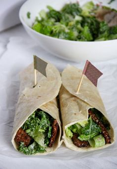 This vegan kale Ceasar wrap with tempeh bacon makes a quick and satisfying meal!