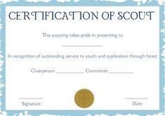 Cub Scout Award Card Template  Scout Certificate Templates