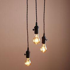 DECO CLUSTER 1/3 VINTAGE CEILING LIGHT ANTIQUE HOLDER HANGING LAMP RETRO PENDANT